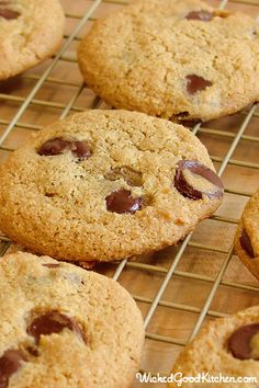 Ultimate Paleo Chocolate Chip Cookies by WickedGoodKitchen.com ~ Finally, a nutrient-rich chocolate chip cookie of our childhood dreams without the guilt and reminiscent of the classic Toll House® cookie with a crunchy exterior and chewy center! Recipe is grain free, gluten free and includes vegan option. #healthy #cookie #recipe