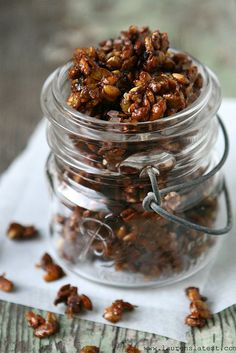 Pumpkin Spiced Candied Pepitas...brown sugar, cinnamon, nutmeg, ginger, cloves   {Lauren's Latest}