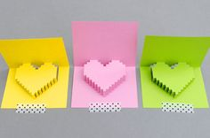 pixilated pop-up cards- 15 Valentine's Day Free Printables - ParentMap