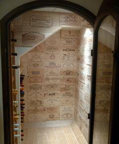 Gorgeous Wine Crate Panel Cellar Walls