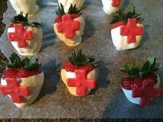 Medical graduation party themed strawberries.