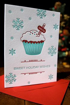 Letterpress Cupcake Holiday Card, $4.75