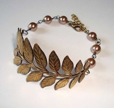 bracelets, bronz brass, antiqu bronz, bridal parties, leaves, brass bracelet, branches, antiques, birthday gifts