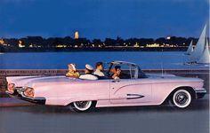 Pink Thunderbird Convertible http://www.calgarythunderbirdclub.ca/images/puzzles/originals/59100.jpg  #pink #thunderbird #convertible #auto #car #automobile
