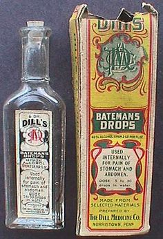 "Antique Patent Medicine bottle (empty) DILL MEDICINE Co. All-Original, embossed w/ label, in box, w/ OPIUM Ingredient.   Over 100 year old- Bottle has full label on fourth side panel that reads in part, ""DILL'S - BATEMAN DROPS / 49% ALCOHOL ... OPIUM 2 GR. PER FL. OZ. ... for pain of stomach and abdomen ... THE DILL MEDICINE CO. NORRISTOWN, PA."""
