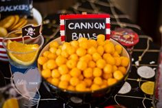 Pirate party food - Cannon balls (cheese balls) Themed Birthday Parties, Cannon Ball, Food, Pirate Theme, 5Th Birthday, Snack, Parti Idea, Pirat Parti, Cheese Ball