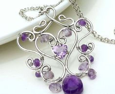 Sterling silver wire wrap necklace, amethyst necklace, purple