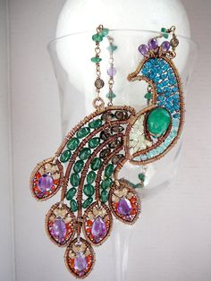 wirework peacock pendant - love all the colors