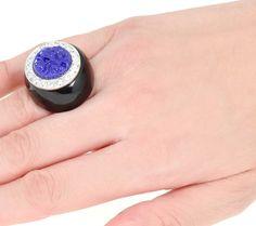 KJL Etched Floral Deco Inspired Ring