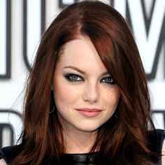By Miss Louie. LOVE Emma Stone's dark luscious auburn color with her light eyes. So gorgeous! @Bloom.com