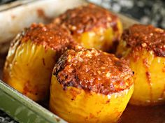 Cheesy, Stuffed Mexican Peppers With Red Chili Sauce