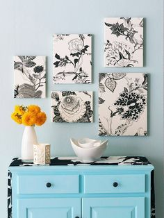 I need a new apartment to decorate with all of my DIY projects!  Patterned fabric stretched over canvas frames, hung on one wall in a cluster. dream-home