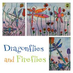 "Celebrate summer with ""Dragonflies and Fireflies,"" which involves drawing, analogous colors and basic watercolor techniques. firefli"