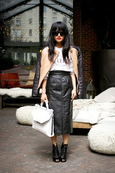 Long vintage leather skirt, styled perfectly!