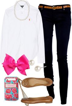 """""""OOTD"""" by classically-preppy ❤ liked on Polyvore,. Take out the bow"""