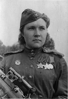 Sergeant Guard Lyubov Makarova, sniper with the 3rd Shock Army of the 2nd Baltic Front.  She was awarded the Order of Glory 2nd and 3rd class. Her tally was 84 confirmed Nazis killed. The photo was taken in the fall 1944.