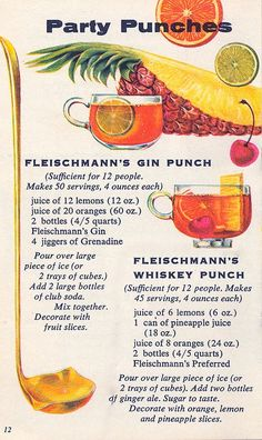 Party Punches... 1960s cocktails