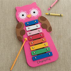 Personalized Pink Owl Xylophone - this would be such a cute gift idea for a new baby - especially if they have an owl-themed nursery! PMall has a TON of cute personalized own designs on all sorts of gifts! #Owl