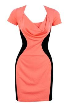 Colorblock Drape Neck Dress