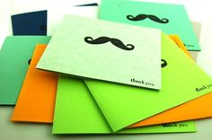 Mini Mustache Thank You Cards