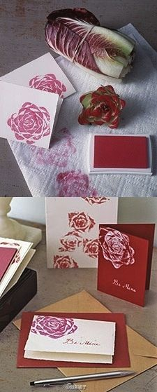 Going to have to try this..Cut the bottoms off of Romaine lettuce to make a rose stamp!