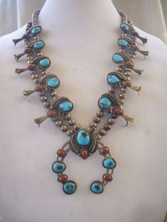 Glorious Vintage NAVAJO Sterling Silver TURQUOISE and CORAL Squash Blossom Necklace