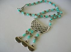 One of a Kind Green and White Teardrop Inspirational Necklace Free Shipping and Photons