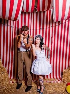 20 DIY Carnival Theme Wedding Ideas   Confetti Daydreams - DIY Striped Photo Booth Backdrop created with a red and white striped plastic or fabric tablecloth material ♥  #Carnival #Circus #Theme #Wedding #DIY #Backdrop
