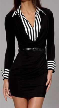 professional look, work clothes, fashion, style, the office, black white, work outfits, little black dresses, stripe