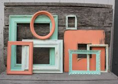 Set of 8 Open Frame Gallery - Picture Frame Collection - Coral and Mint Green - Coral Decor - Nursery Decor - Home Decor - Office Decor