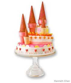 great idea for a beach party-castle birthday cake design