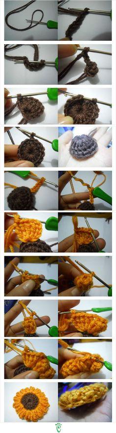 Crochet Sunflower Face Scrubby Puff. No link; just flower tutorial image. ☀CQ #crochet #crochetflowers  http://www.pinterest.com/CoronaQueen/crochet-leaves-and-flowers-corona/
