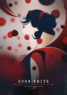Old Story, New Ending - Seventy Two Illustration & Design ---- disney fan art, animation, behance, disney princesses, disney posters, vector design, fandom, disney characters, snow white