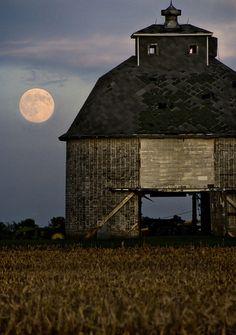 harvest moon, sky, autumn, hous, the farm, place, light, country, old barns