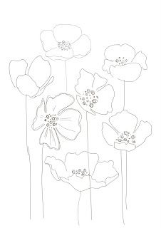 poppi print, poppies drawing, zentangle poppies