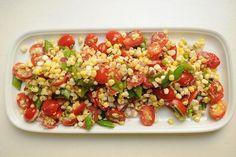 Amangansett Corn Salad-- balsamic vinegar and onion balance out sweet corn, cherry tomatoes, and sugar snap peas