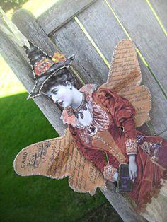 Halloween witch paper doll elegant OOAK by LittleBeachDesigns, $34.00