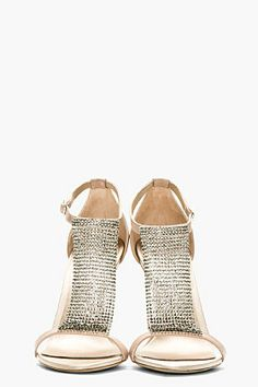 BURBERRY PRORSUM Nude Crystal Embellished Heeled Sandals - Tuba TANIK