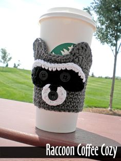 Raccoon Coffee Cozy Crochet Pattern