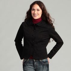 @Overstock - Remain stylish while keeping warm with this womens Live a Little jacket. The jacket features a slight stretch for a comfortable fit and a rounded stand collar for added flair. Give any outfit the finishing touch with this trendy jacket.http://www.overstock.com/Clothing-Shoes/Live-a-Little-Womens-Seamed-Jacket/6975858/product.html?CID=214117 $35.99 seam jacket, jackets, jacket featur, women seam, stand collar