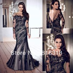 mobile site-Free Shipping High Quality Mermaid Appliques Long Sleeve Low Back Black Tulle Elegant Long Evening Dresses Formal Dresses