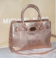 michael kors mk tasche hamilton tote leder python rose gold neu. Black Bedroom Furniture Sets. Home Design Ideas