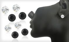 Groupon - Sterling-Silver 6mm or 8mm Stud Earrings with Black or Clear Swarovski Elements Crystals (Up to 91% Off). Free Returns. in Online Deal. Groupon deal price: $7.0.00