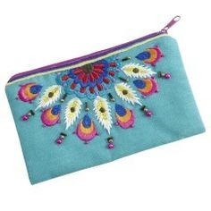 Peacock Embroidered Coin Purse