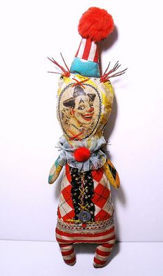 Lunet the Clown | Flickr - Photo Sharing! by JunkerJane a.k.a Catherine Zacchino available on etsy lunet, softi, circus charact, handmad art, rag doll, crosses, arti charact, art dolls, clowns
