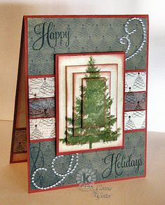 christma card, christmas cards, scrapbook cards, stack techniqu, holiday cards, mat, the edge, happy holidays, christmas trees