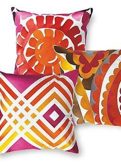 Breath new life into your outdoor seating with the vibrant Set of Three Vivacious Pink Designer Pillows,.