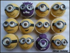 minions, idea, minion cupcakes, minion cake, bake, food, birthday cupcakes, themed cakes, parti