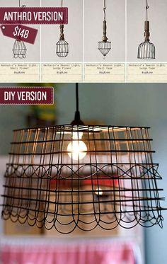 reuse recycle, pendant lamps, old baskets, pendants, light fixtures, kitchen, pendant lights, wire baskets, diy light