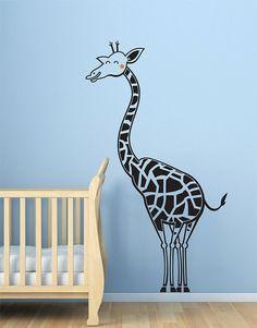 Boy's room decor - Giraffe wall decal, nursery decal sticker. NEW Safari theme. $65.00, via Etsy.